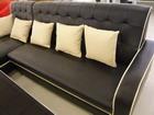 透氣皮沙發L型 黑#801