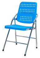 白宮塑鋼合椅  藍/電鍍腳