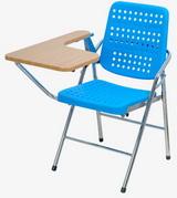 白宮藍色塑鋼課桌椅 木紋面/電鍍腳