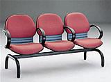 黛安布面扶手三人排椅