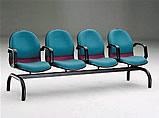 哈利布面扶手四人排椅